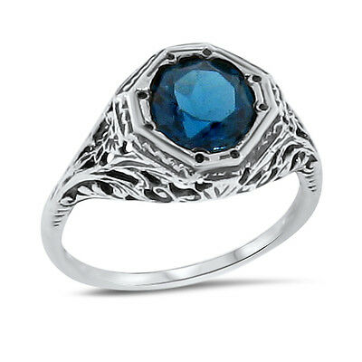GENUINE LONDON BLUE TOPAZ ANTIQUE STYLE 925 STERLING SILVER RING SIZE 6 #708