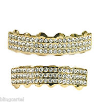 14k Gold Plated Grillz Set 3 Three Rows Top & Bottom Row Iced-out Hip Hop Teeth