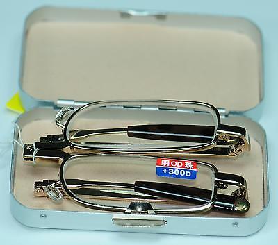 Pocket Handbag Folding Hinge Reading Glasses Mini Hard Case +1.0 +1.5+2.0+3.0+4.