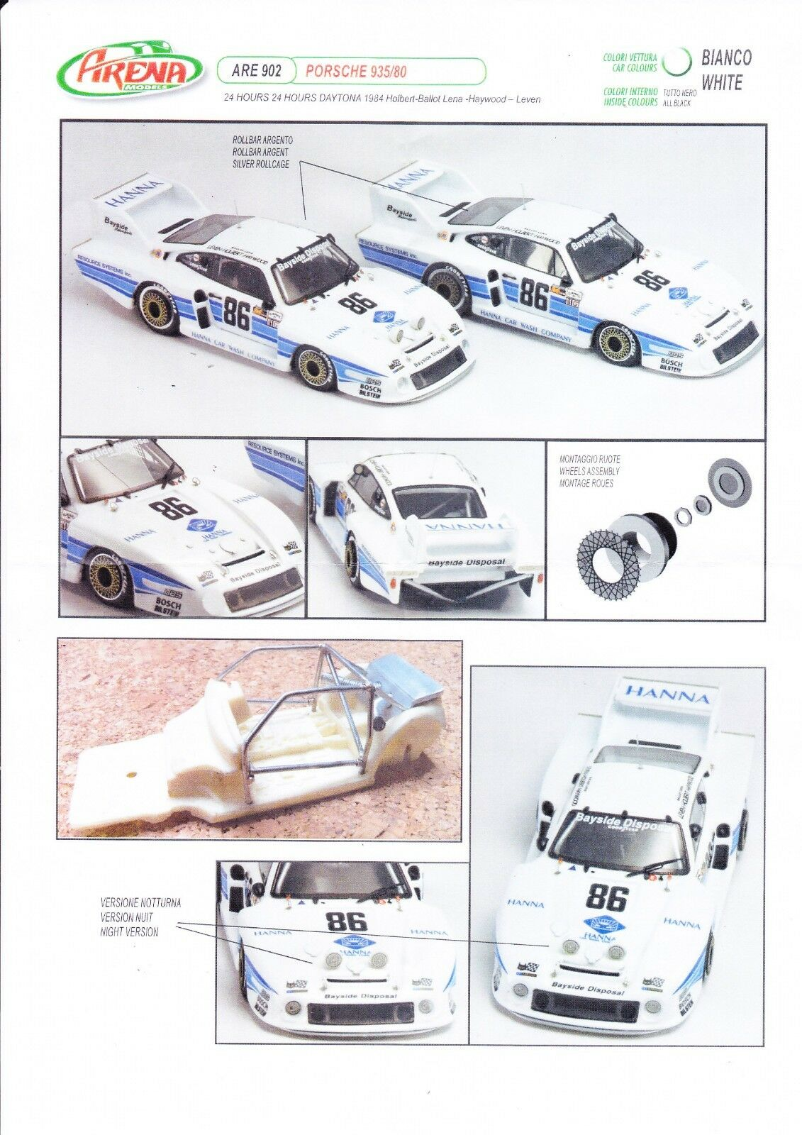 kit Porsche 935 80  86 Daytona 1984 - Arena Models kit 1 43