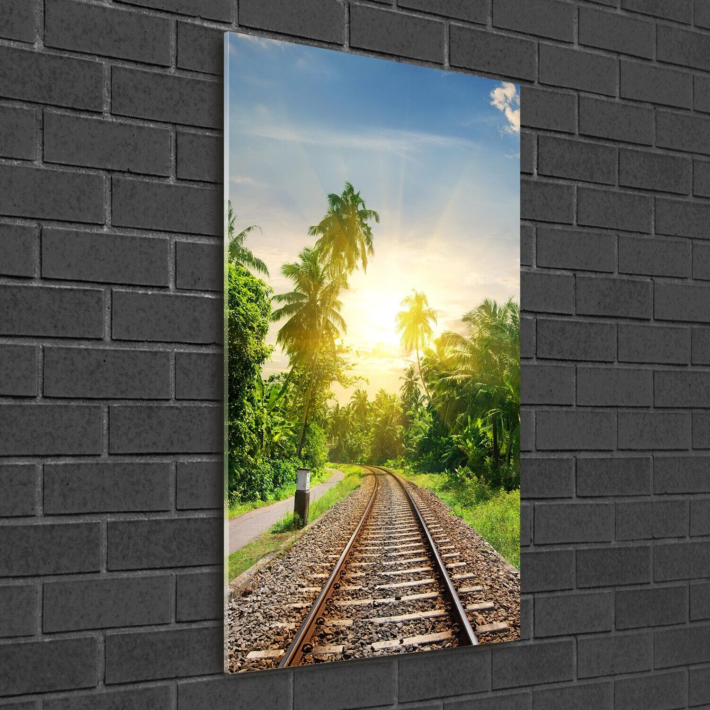 - Muro ARTE Immagine pressione rigida-VETRO verdeICALE 50x100 binari ferroviari