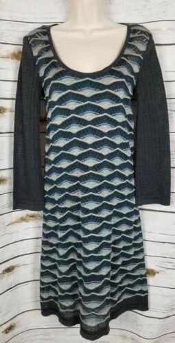 M Missoni Green Sweater Knit Dress Wavy Print 44 I