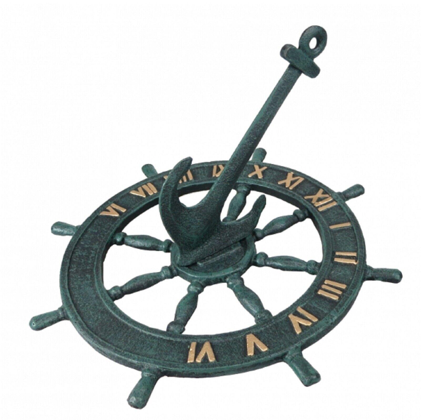 Nautical Cast Iron Garden Sundial Ships Wheel Anchor Ornament 23cm Sun Dial Gift
