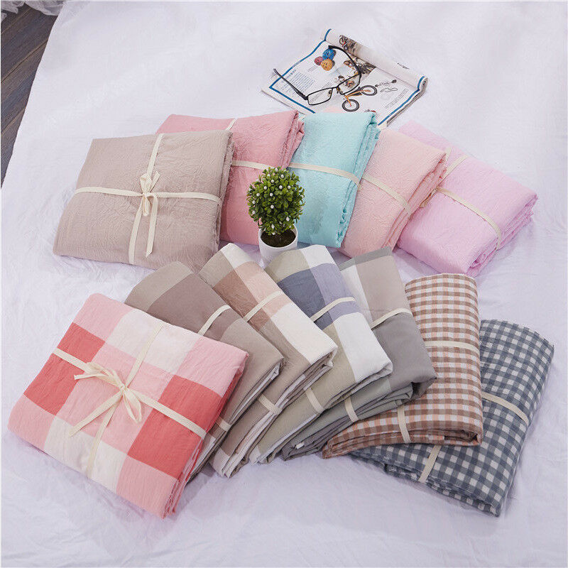 Washed Linen Cotton Blend Bed Sheet Set Stripe plaid solid color bedsheet soft