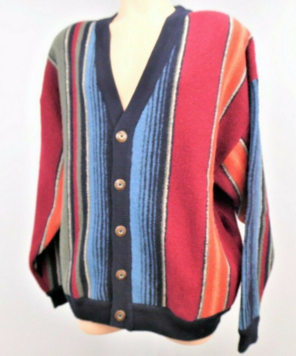 Vintage Structure Man Woman Size XL Multi colord 100% Wool Cardigan Sweater