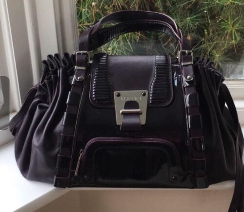 Versace Tags Lilla Handbag Ny Autentisk med Tote Leather t7q7ASw