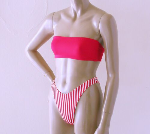 banda bianca e Parte superiore parte senza inferiore bikini in bretelle Candy brasiliano anni '80 del rossa di '90 degli anni degli Ug4qUax