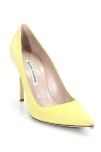 Manolo-Blahnik-Women-039-s-Pointed-Toe-Classic-Pumps-Suede-Yellow-Size-39-5-9-5