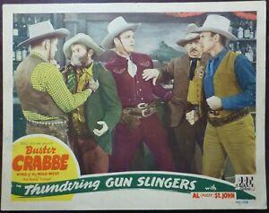 Occidental-Buster-Crabbe-1940s-Original-Lobby-Tarjeta-Thundering-Gun-Slingers