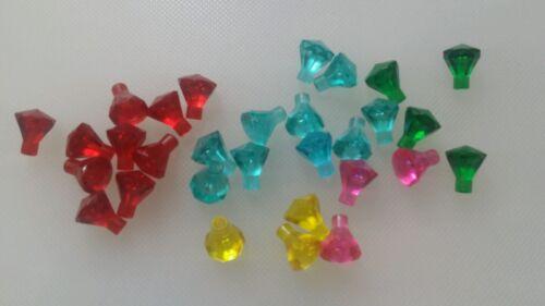 30x Lego Transparent Diamond Gems Jewels rock treasure pieces 5 colours