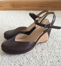 NEW CLARKS FRUITY PORT WOMENS BROWN LEATHER WEDGE SHOES SIZE UK 7 EUR 40