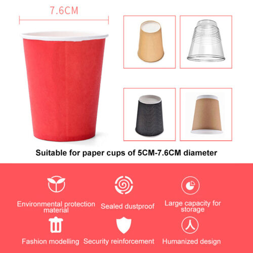 70 Cups Disposable Paper Cup Dispenser Dust-proof Automatic Cup Holder Home MP