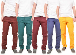 Mens-Chinos-Trousers-Slim-Fit-Jeans-Comfortable-Cotton-Open-Hem-Pants-All-Sizes