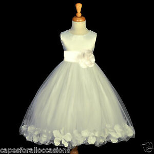 a563cc063 Details about IVORY COMMUNION PAGEANT EASTER WEDDING PETAL FLOWER GIRL  DRESS 12-18M 2 4 6 8 10