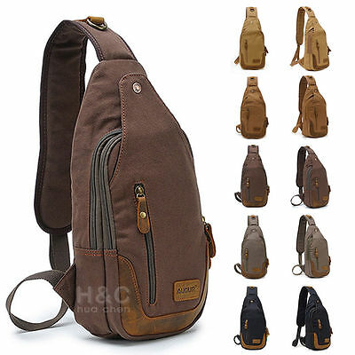 Canvas Military Hiking Messenger Travel Chest Pack Backpack Shoulder Sling Bags