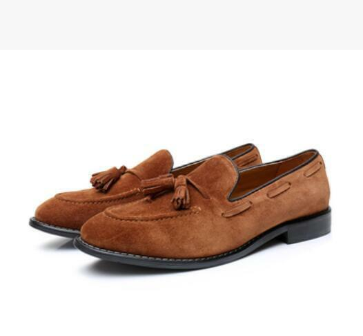British Mens Brown Tassel Leather Loafers Suede Dress Shoes Slip On Casual