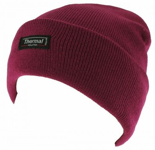 Womens Thinsulate Beanie Hat Thermal Fleece Lined Knitted Winter Warm Ski Cap