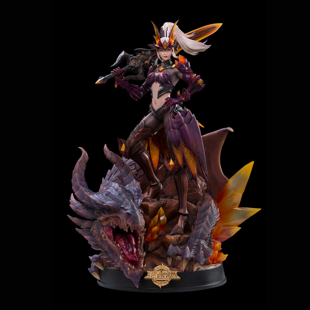 DAMTOYS+Tencent Arena of Valor 1 8 Crystal Dragon Hunter Mulan Statue Deluxe Ver