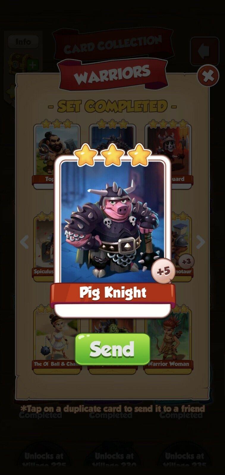 Coin Master Warriors, Pig Knight Card (Fast Sending)
