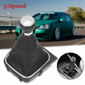 Black-5-Speed-Gear-Shift-Knob-Stick-Lever-Gaitor-Boot-Cover-For-VW-Golf-MK5-MK6