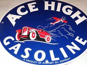 "VINTAGE ACE HIGH GASOLINE W/ AIRPLANE +CAR11 3/4"" PORCELAIN METAL GAS & OIL SIGN"