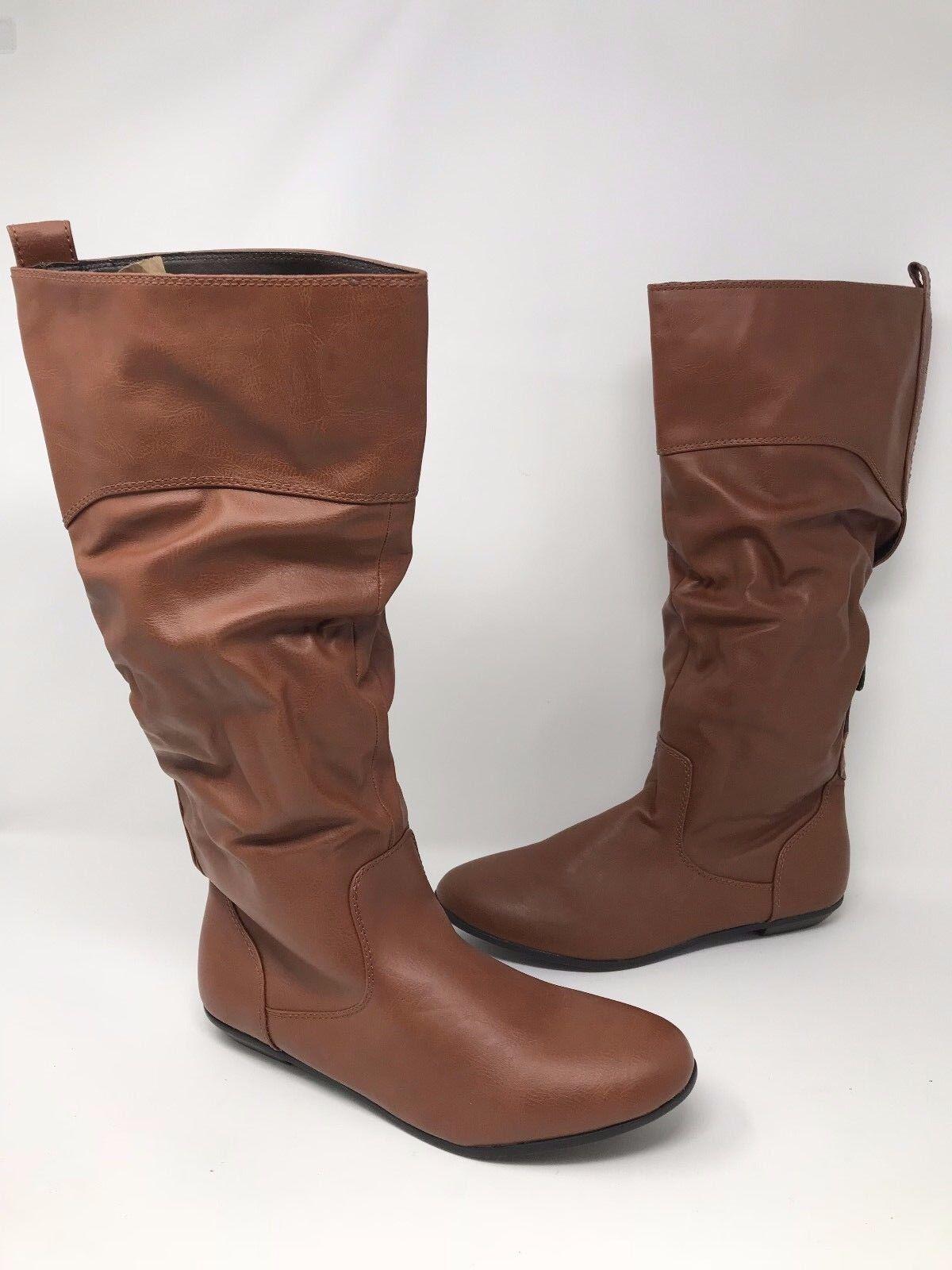 New! Womens Bongo Logan 20303 Slouch Riding Boots - WIDE WIDTH Cognac O55