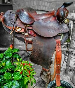 Vintage Saddle Roping Full Tooling 15 Inch handmade in USA