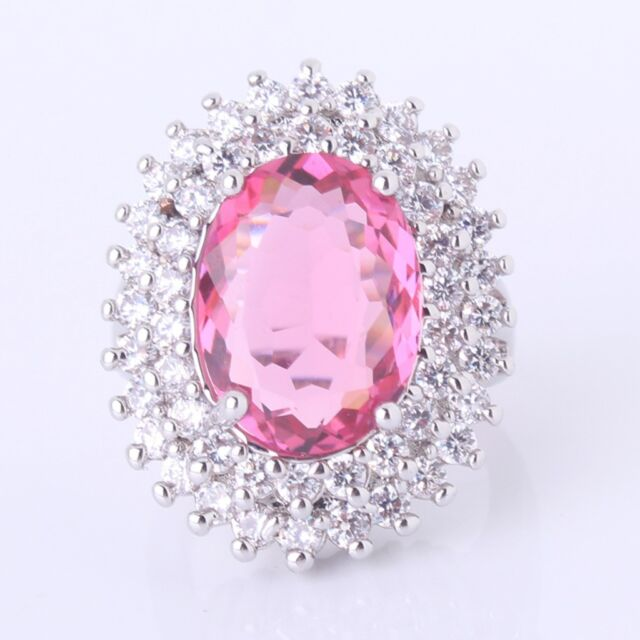 Cluster ring! 18K White Gold filled Pink Sapphire gorgeous novel Ring Sz6-Sz10