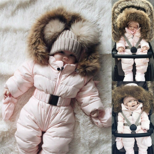 Winter Infant Baby Boy Girl Romper Jacket Hooded Jumpsuit Warm Thick Coat Outfit