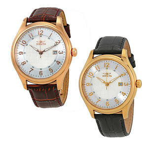 Invicta-Vintage-Silver-Dial-Leather-Mens-Watch-Choose-color