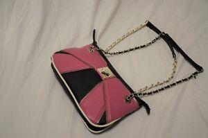Pink leder Betsey Black Purse Handtasche Satchel Tote Johnson schultertasche Reiverschluss qwSXFv