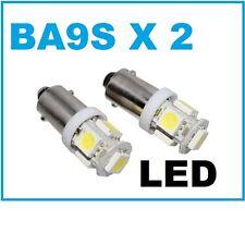 2PC BA9S T4W 1895 Miniature Bayonet Super White 5 LED Light Bulb 6000K