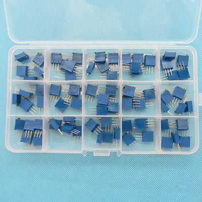 15Value Assortment 3296W Multiturn Variable Resistor Trimmer Potentiometer Kit