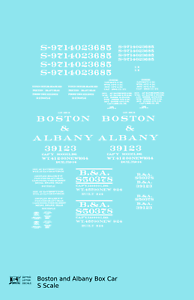 K4 S Decals Boston and Albany 36 Or 40 Ft Boxcar White