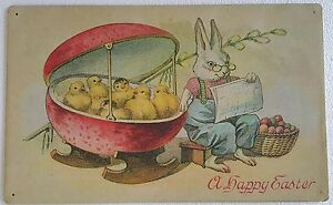 A Happy Easter Bunny Chick Eggs Rustic Vintage Metal Sign