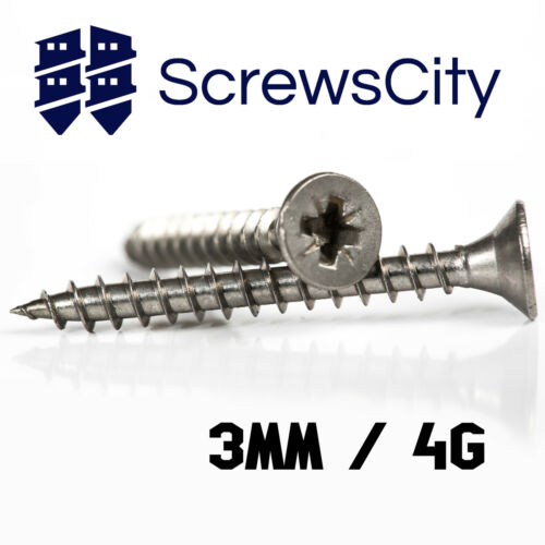 3mm 4g WOOD CHIPBOARD SCREWS A2 STAINLESS STEEL POZI COUNTERSUNK FULLY THREADED