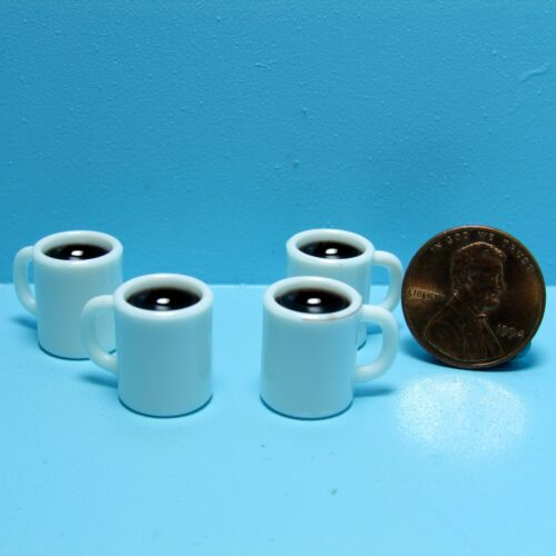 Dollhouse Miniature Set of 4 Coffee Mugs Filled in White ~ G7351