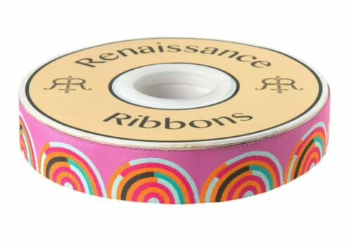 "7//8/"" Hypnotizer Tula Pink Chipper Ribbon Renaissance Ribbons Woven Jacquard BTY"