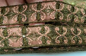"""Vintage 60s Coral Mossy Brown Embroidered Hand Sewn Beads Sheer 3/4"""" Trim 1yd"""