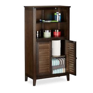 Dettagli su Mobile bagno marrone LAMELL armadietto bambù mobiletto  telefono, scaffale cucina