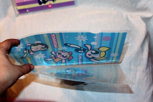 NEW SET OF 2  POWERPUFF GIRLS PURPLE AND BLUE PROTECTIVE PLASTIC FOLDER