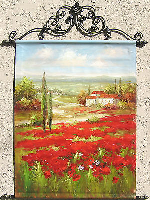 Wild flowers poppies oil painting tapestry with Rods