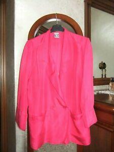 huge selection of 61d78 95867 Dettagli su Giacca camicia fucsia donna 100% seta taglia grande primavera  estate camicia