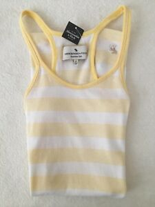 Abercrombie-amp-Fitch-Stripe-Cami-Vest-Yellow-White-M-RRP-18-28-Disc