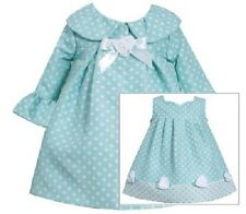 Bonnie Jean Girls Aqua Jacquard Spring Easter Dress & Coat Set Size 12M New