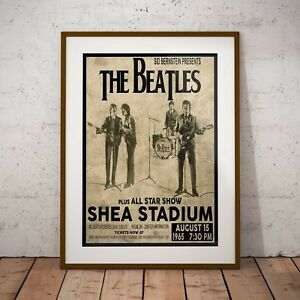 The Beatles 1965 First Shea Stadium Concert Three Print Options or Framed Poster