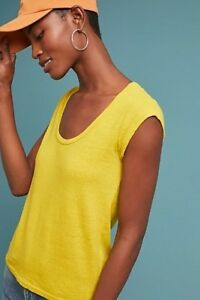 NWT-Anthropologie-Meadow-Rue-Yellow-Ravenna-Linen-Blend-Casual-T-Shirt-Tee-XS