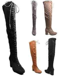 Womens-Ladies-Front-Lace-Up-Suede-Over-The-Knee-Boots-Thigh-Shoes-Block-Low-Heel