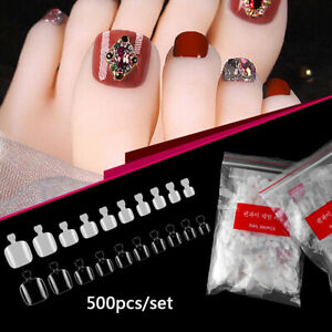 500x-Artificial-Acrylic-Toe-False-Nails-Tips-Clear-Foot-Fake-Nails-Manicure-A-AF