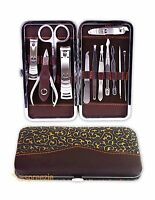 Pedicure / Manicure Nail Set Clippers Cleaner Cuticle Grooming Kit Gold Case